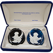 Franklin Mint Bicentennial Cameos In Crystal by Baccarat France C1975, President George Washington, Marquis de Lafayette