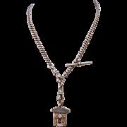 C1901 Victorian Sterling Silver Watch Chain Necklace 9ct Enamel Fob Wiltshire Football Association Herbert Bushell & Son of Birmingham England