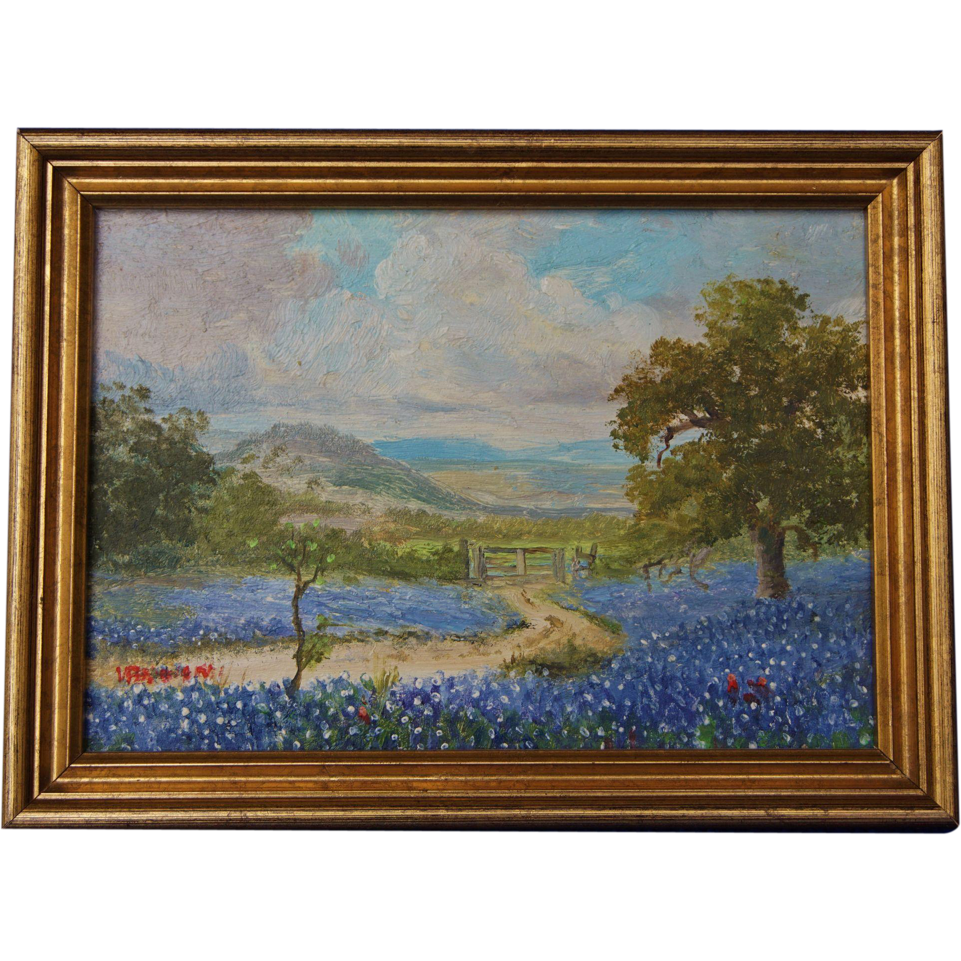 Spring Landscape Texas Bluebonnet Hill Country Small Oil Painting On Five Mile Antiques Ruby
