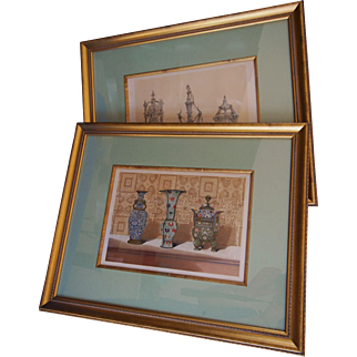 Rare Framed C1863 J B Waring Chromolithographs Chinese Enamel and French Silver