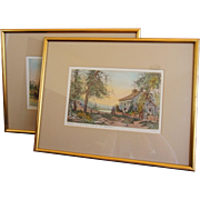 Pair Fagin Mercier Pencil Signed Hand Colored Etching Birthplace of Howard Payne, Homestead of Oliver Wendell Holmes