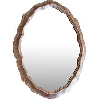 C1940s Chippendale Style Silver Leaf Mirror Shabby Chick