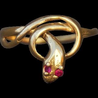14K Yellow Gold Ruby Eyed Snake Ring Size 7