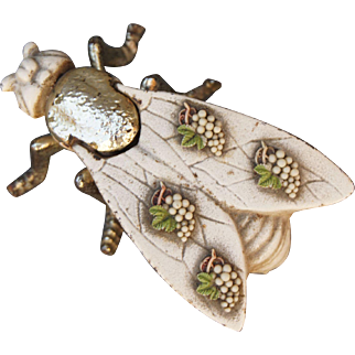 Vintage Painted Gilt Cast Iron Bug Fly Insect Match Safe Strike Trinket Box Ashtray Decorated Wings with Grapes