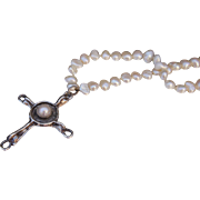 C1970s Sterling Silver Brutalist Style Cross with Mabe Pearl on Long Keshi Pearl Necklace