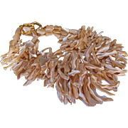 """C1970s Kenneth Jay Lane Runway Chunky Genuine Mother of Pearl MOP Double Strand Necklace 17"""""""