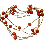 """Fabulous Victorian 14K Yellow Gold Filigree Chain Mediterranean Red Coral by the Yard Necklace 35"""""""
