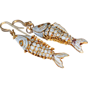 Vintage Chinese Cloisonné Enamel Articulated Large Koi Fish Sterling Silver Hook Earrings