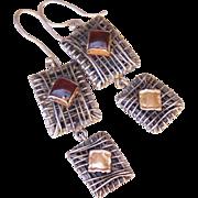 Mid Century Wire Work Studio Earrings 14K Rose Gold Sterling Silver Garnet Cabochon