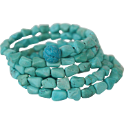 Vintage 5 Strand Chinese Turquoise Nuggets Bracelet Flexible Wired 38.2g