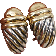 David Yurman Sterling Silver 14K Yellow Gold Dome Waverly Earrings