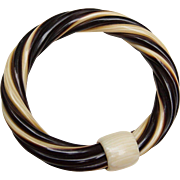 Art Deco French Ivory Celluloid Bangle Bracelet Twisted with a Knot