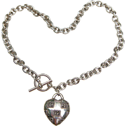 Vintage Judith Jack Marcasite Heart Chunky Sterling Silver Toggle Necklace