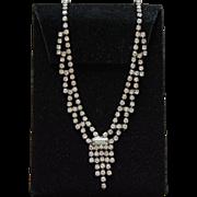 Delicate Silverplated Micro Rhinestone Necklace Art Deco