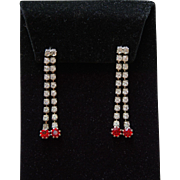 Vintage Sparkling Rhinestone Cascade Earrings Clear and Ruby Red Drops
