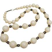 Quality Retro Bold and Statement Resin and Chrome Large Beaded Necklace 32 inches