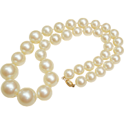 High Quality Vintage Large Faux Pearl Necklace Gold Nugget Clasp