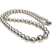 Art Deco American Made Sterling Silver Beaded Necklace Quality Heavy Beads on Silver Chain