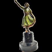 Art Nouveau Painted Vienna Austrian Bronze Dancing Lady Karl Carl Hagenauer