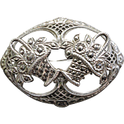 Art Deco Sterling Silver Marcasite Pin Brooch Double Flower Baskets