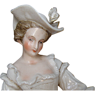 Meissen Style 18th Century Porcelain Figurine Lady with Candle Holder Table Lamp
