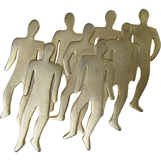 C1988 JJ Jonette Jewelry Large Pin Brooch People Gathering
