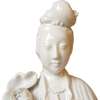 C1900 Chinese Guan Yin Blanc-de-Chin Statue Marked CHINA