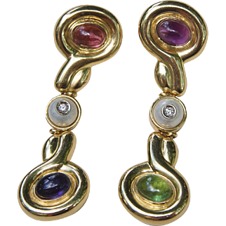18K Gold Multi-Gem Italian Designer Earrings Long Dangle Tourmaline Tanzanite Peridot Diamonds