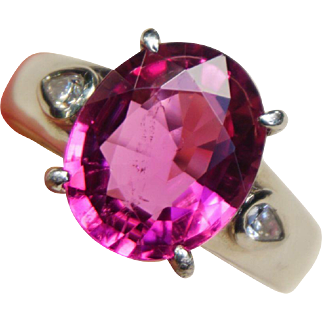 Breath Taking Platinum 4.55 Carats Rubellite Tourmaline Diamond Ring Size 6.5