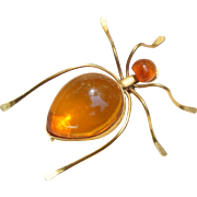 Large Vintage Russian Soviet Genuine Baltic Amber Gold Plated Spider Brooch