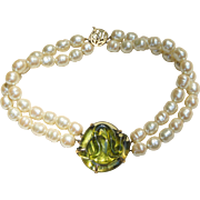 Unique Designer Sterling Silver Double Faux Pearl Necklace Large Peridot Green Art Glass Center Piece
