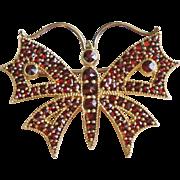 Victorian Bohemian Rose Cut Pyrope Garnet Sterling Silver Vermeil Butterfly Brooch