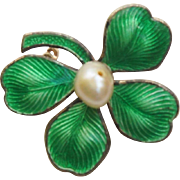 Art Deco Sterling Silver Enamel Guilloche Four Leaf Clover Pin or Brooch with a Cultured Pearl