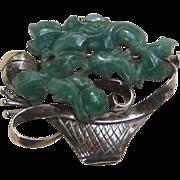 Art Deco Chinese Export Sterling Silver Carved Jadeite Jade Pin Brooch Flower Basket