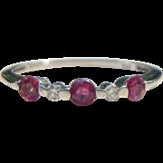 14K White Gold Ruby Diamond Ring Band 0.5 Carat