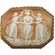 Large Victorian Three Graces Cameo Brooch 14K Yellow Gold Frame