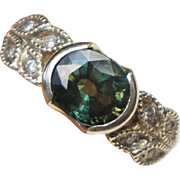 14k White Gold 2.3 carat Natural Blue Green Sapphire Diamond Ring Size 7.5