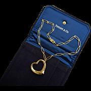 Tiffany & Co. Elsa Peretti 18K YG X-Large Open Heart Pendant & Necklace