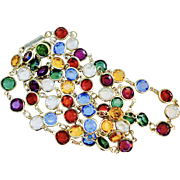 Vintage Multi-color Faceted Crystal Necklace 36 inches long