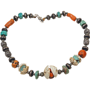 Precious Berber Moroccan Jewelry Multi Stone Necklace Coral, Amazonite, Shells and Wood Beads with Metal Inlay