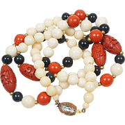Vintage Chinese Cinnabar, Onyx, and Ox Bone Beads with Cloisonné Clasp 29 inches