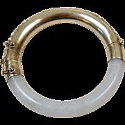 Art Deco Chinese Sterling Silver Vermeil Repousse Jadeite Jade Bangle Bracelet