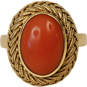 18K Yellow Gold Mediterranean Red Coral Cocktail Ring Woven Settings Size 8.5