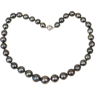 16 - 12 mm Baroque Peacock Tahitian Pearl Necklace 19 Inches 18K White Gold Diamond Ball Clasp