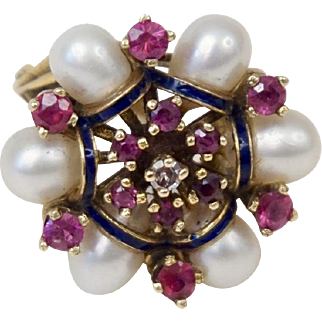 C1950s 14K Yellow Gold Ruby Diamond Cultured Pearls Clustered Ring with Black Enamel