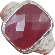 Designer Sterling Silver Faceted African Ruby Ring Size 8.75