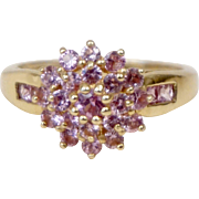 14K Yellow Gold Pink Sapphire Cluster Ring