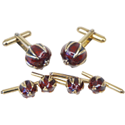 Niels Rostrup Sterling Silver Guilloche Pomegranate Cufflinks and Shirt Studs Set of 4