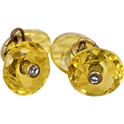 Art Deco Faceted Yellow Glass and Paste Cufflinks