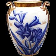 "William Alsager Adderley Lily Vase 19th C English Flow Blue & Gold Urn Pot 9"""